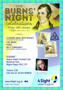 4Sight Vision Support Burns Night Poster 2018