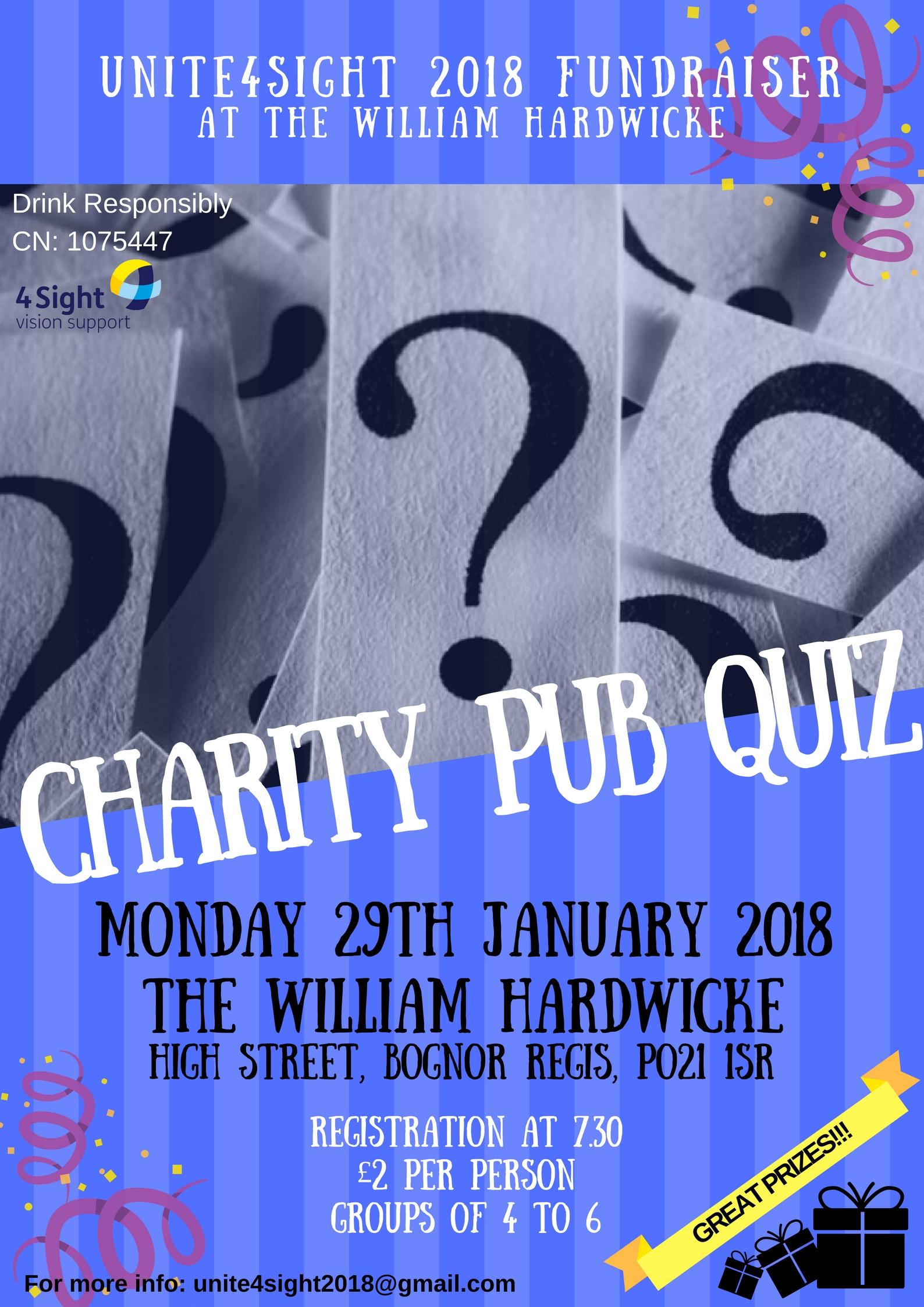 Charity Pub Quiz in aid of 4Sight