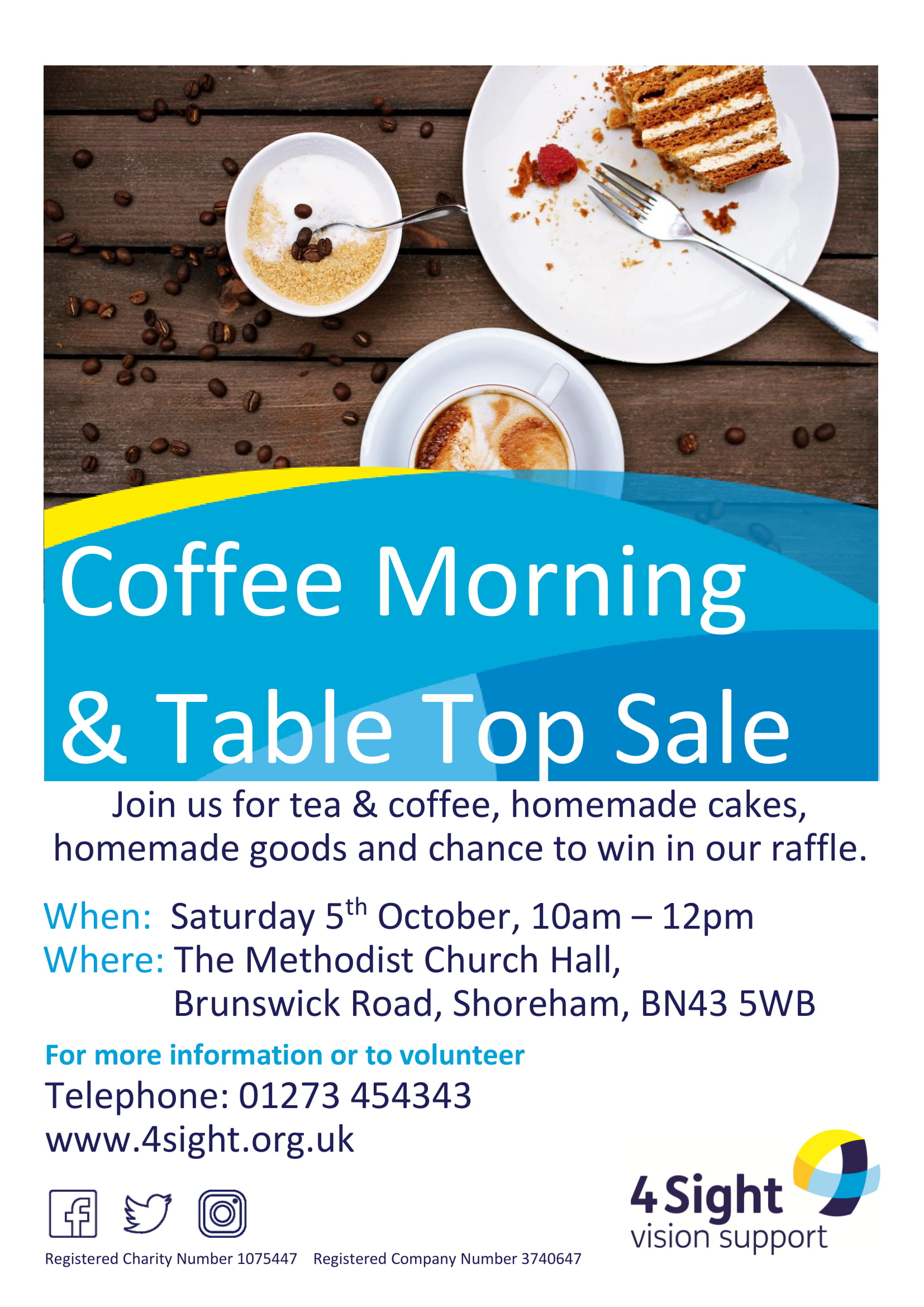 poster for event, all details typed with coffee and cake image at top
