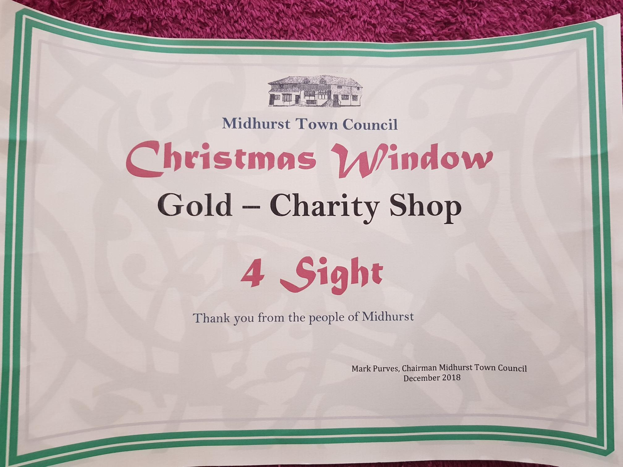 Window Award Certificate