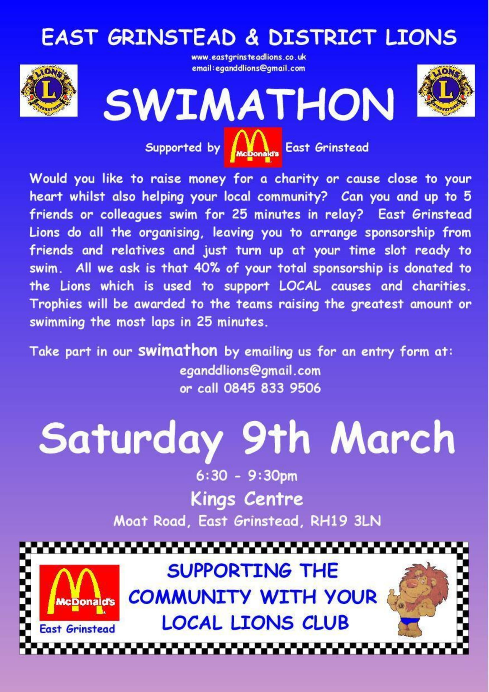 SWimathon Poster on blue and purple toned background