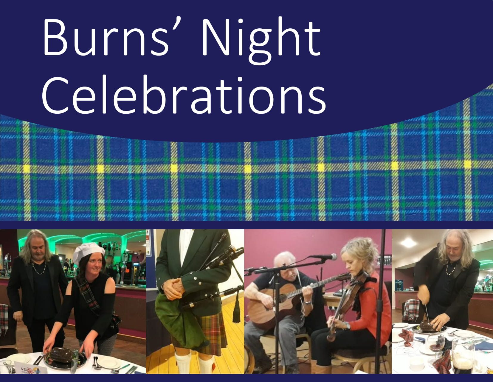 Burns Night poster. Text in blue. (all information will be posted as text on the event page for reading)