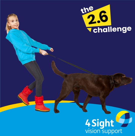 Young girl with black dog on lead. The background of the image in dark blue and creates a cartoon style image. 4Sight Vison Support logo bottom right, and the 2.6 challenge logo is top right.