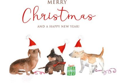 Dogs with santa hats