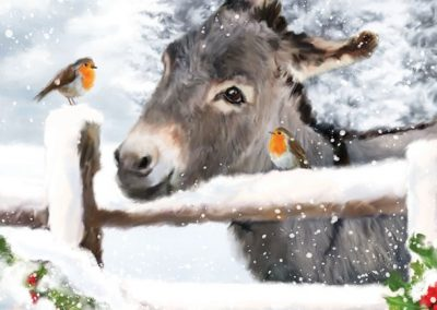 Donkey with robins